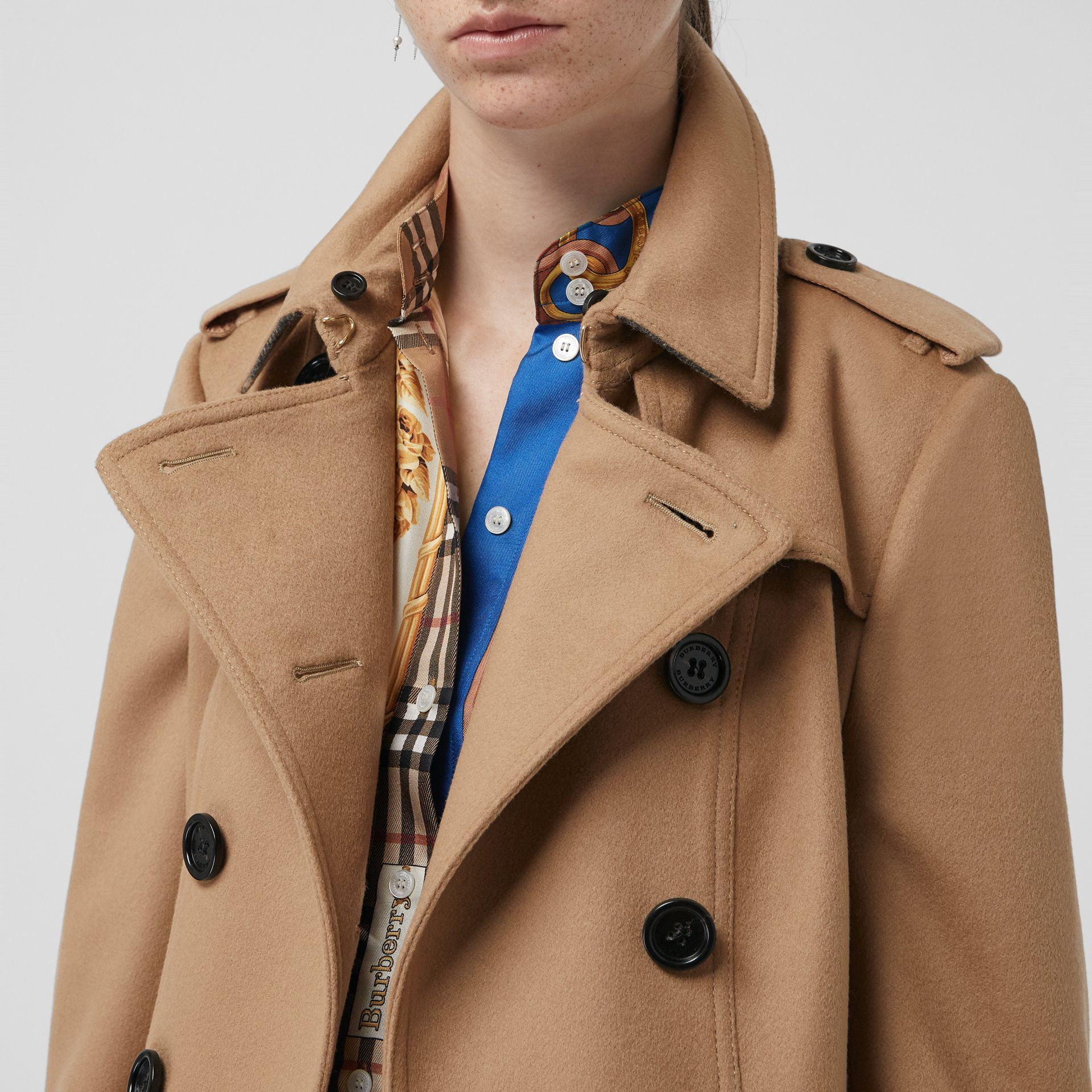 Wool Cashmere Trench Coat with Fur Collar in Camel - Women | Burberry United States - gallery image 1