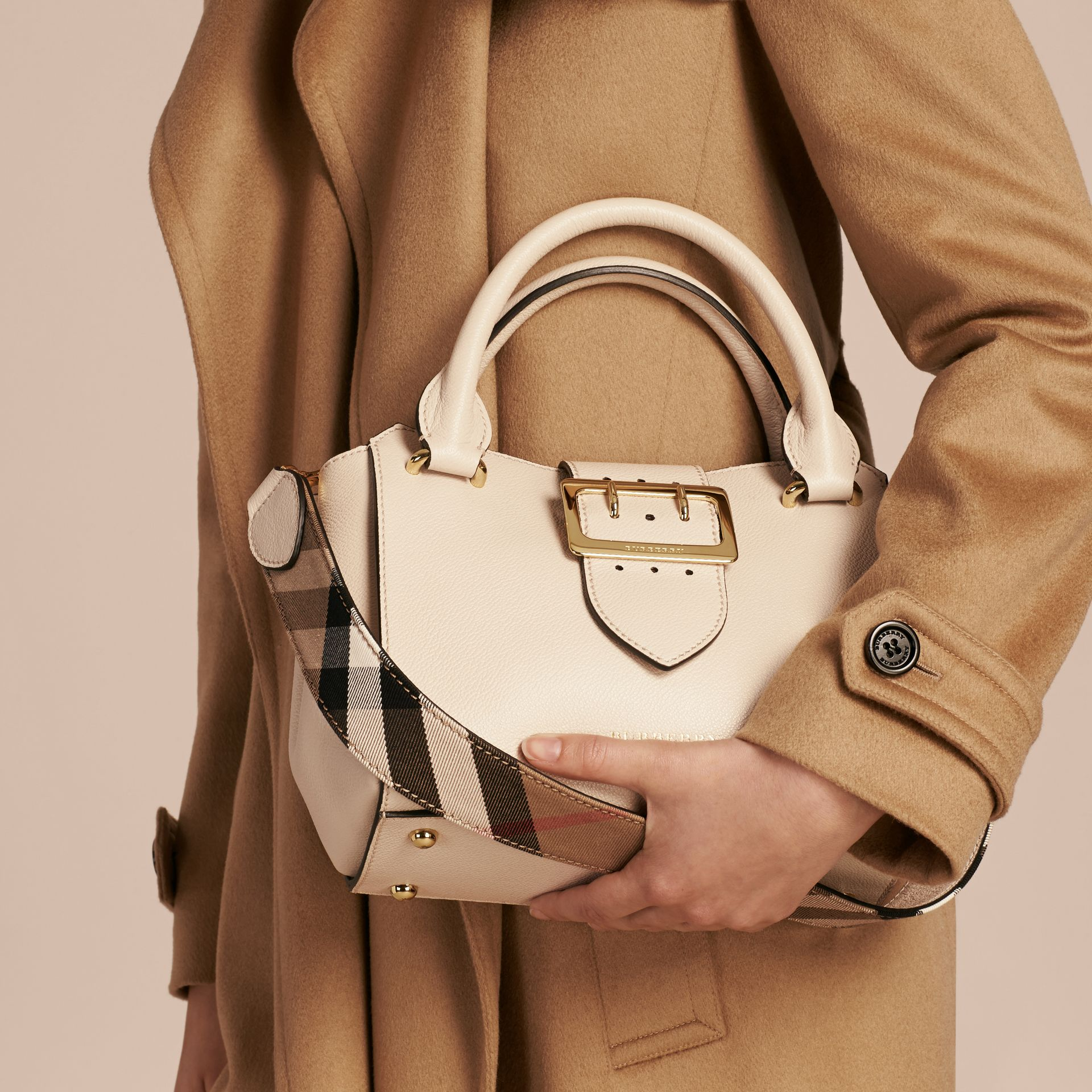 The Small Buckle Tote in Grainy Leather in Limestone - Women | Burberry United Kingdom - gallery image 3