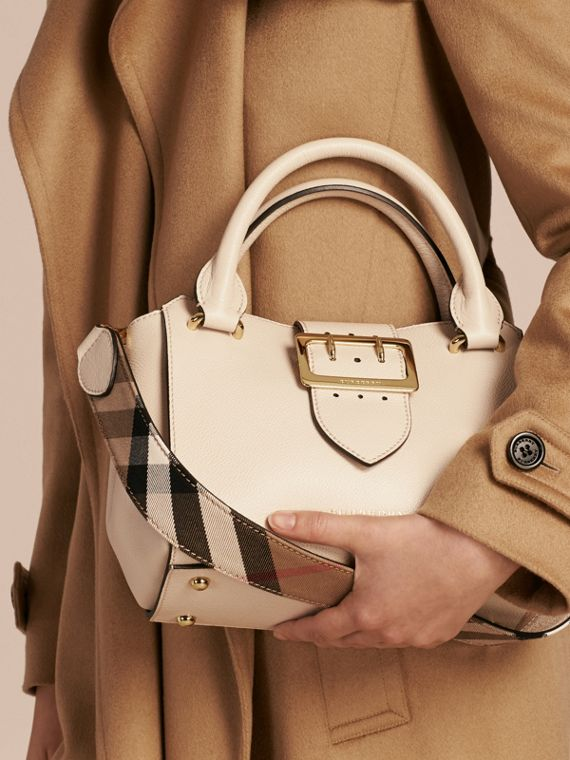 The Small Buckle Tote in Grainy Leather in Limestone - Women | Burberry Australia - cell image 3