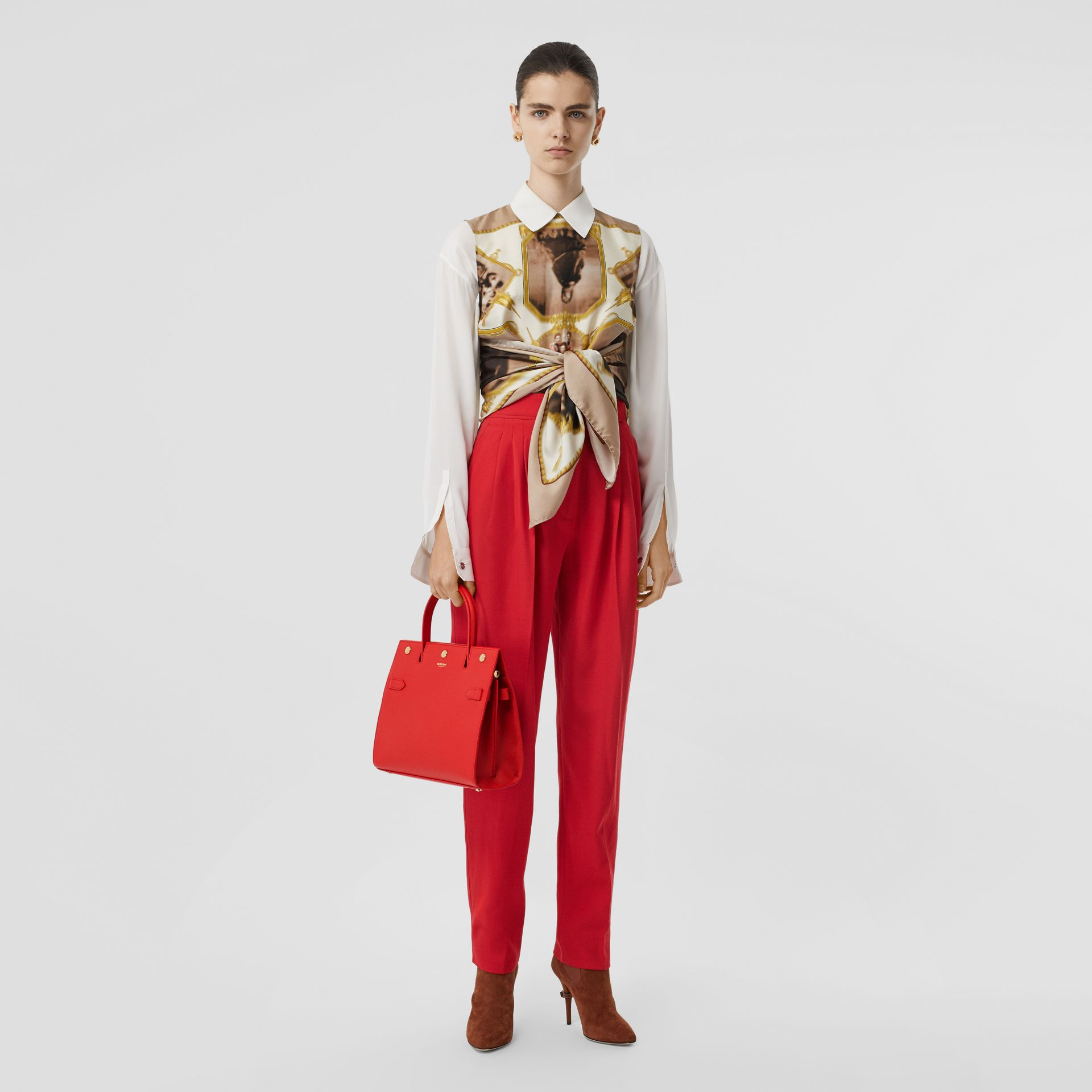 Small Leather Title Bag in Bright Red - Women | Burberry Canada - gallery image 5