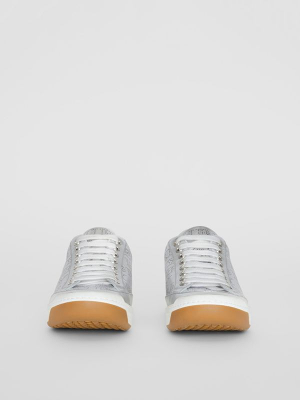 Perforated Logo Metallic Leather Sneakers in Silver Grey - Women | Burberry Australia - cell image 3