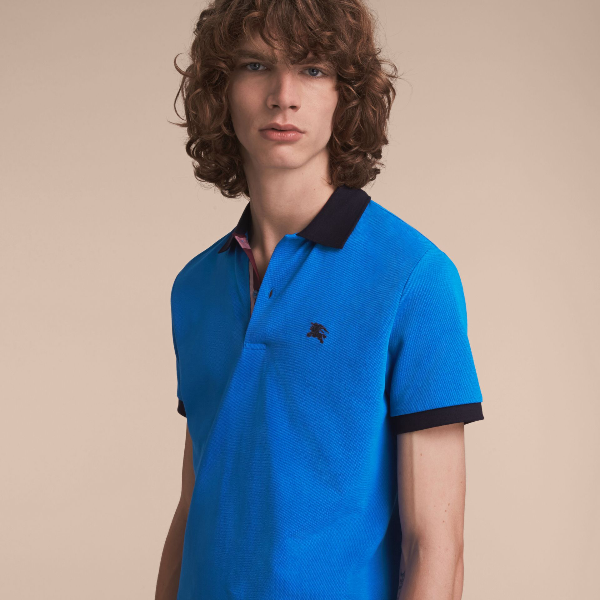 Two-tone Check Placket Cotton Piqué Polo Shirt Bright Opal - gallery image 6