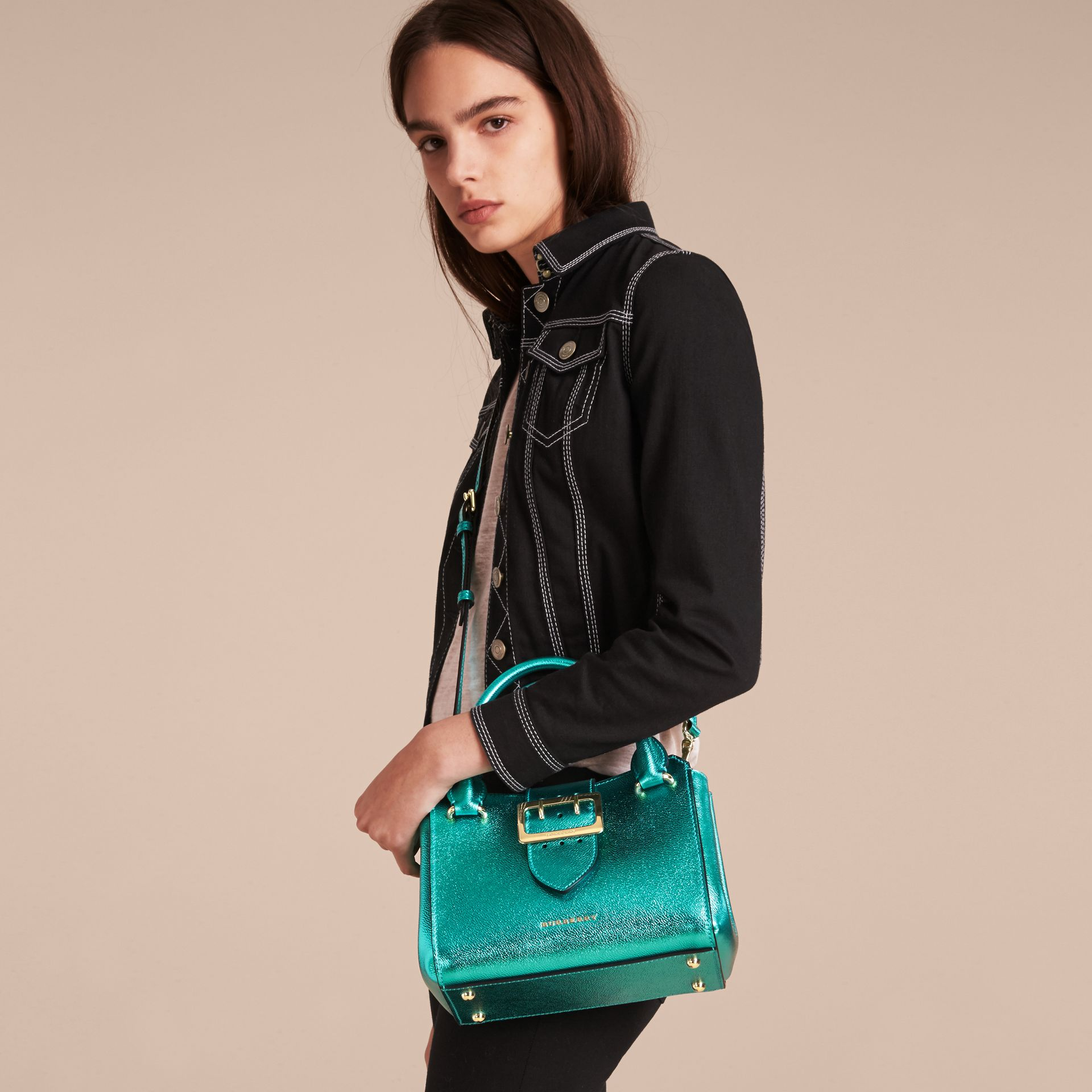 The Small Buckle Tote in Metallic Leather in Emerald - gallery image 3