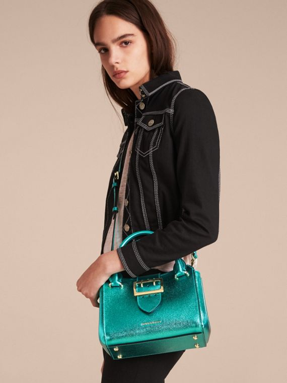 The Small Buckle Tote in Metallic Leather Emerald - cell image 2