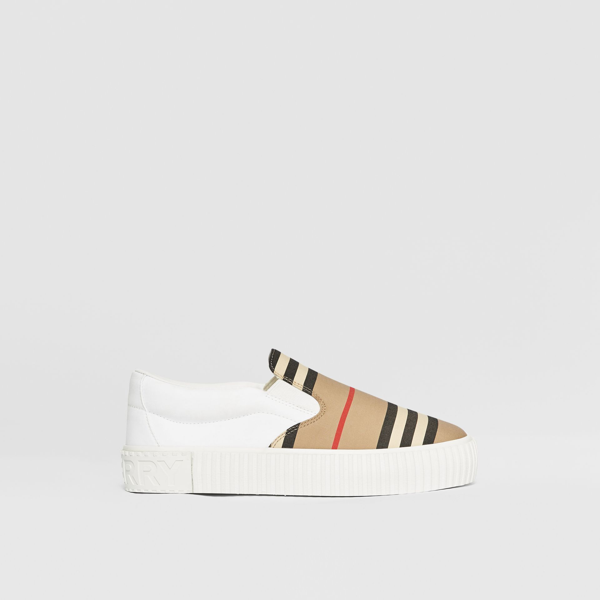 Icon Stripe Cotton Slip-on Sneakers in Archive Beige - Children | Burberry United States - gallery image 3