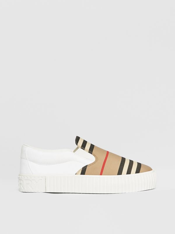 Icon Stripe Cotton Slip-on Sneakers in Archive Beige - Children | Burberry United States - cell image 3