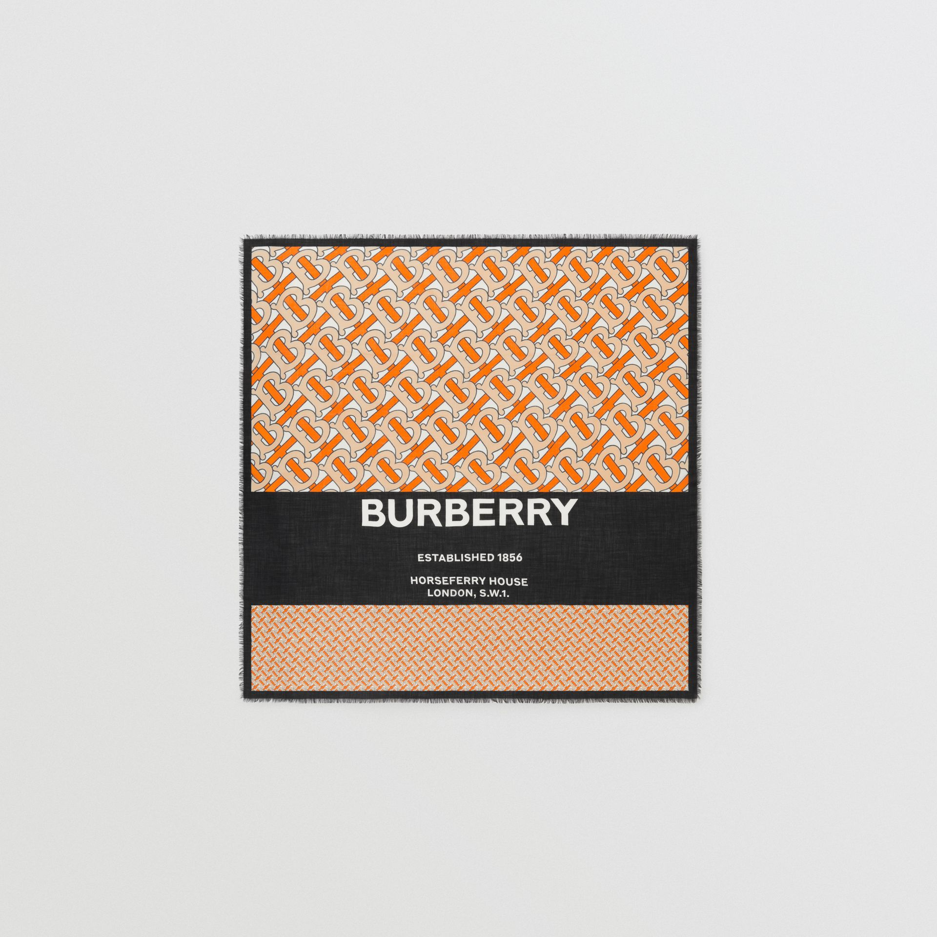 Grand carré de cachemire Monogram (Orange Vif) | Burberry - photo de la galerie 0