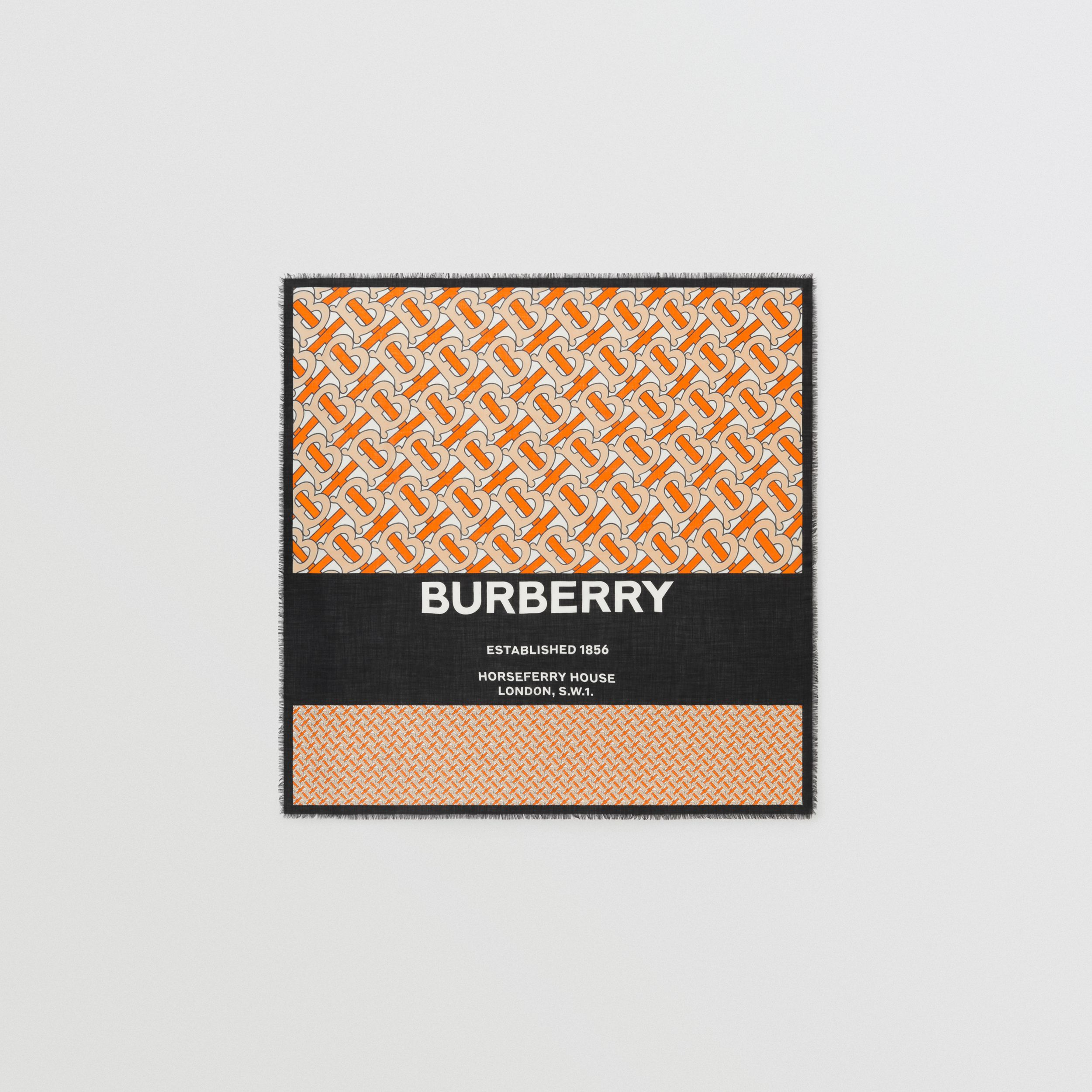 Grand carré de cachemire Monogram (Orange Vif) | Burberry Canada - 1