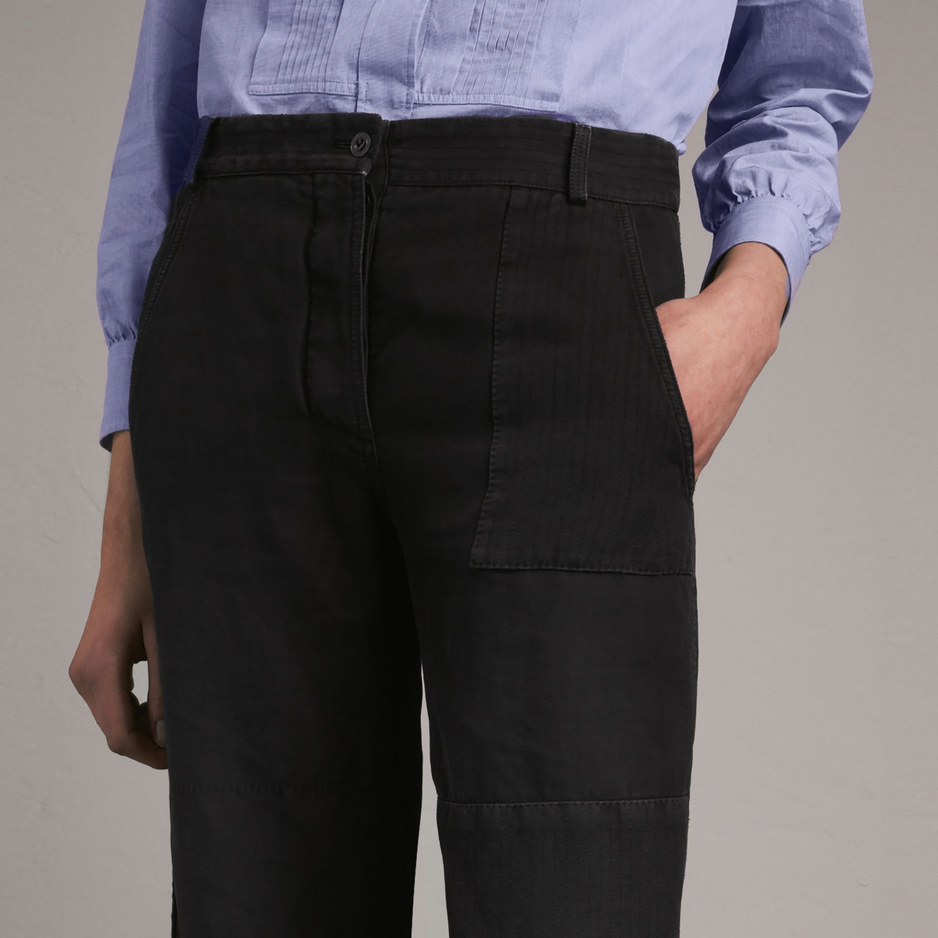Ramie Cotton Cropped Workwear Trousers in Black - gallery image 5