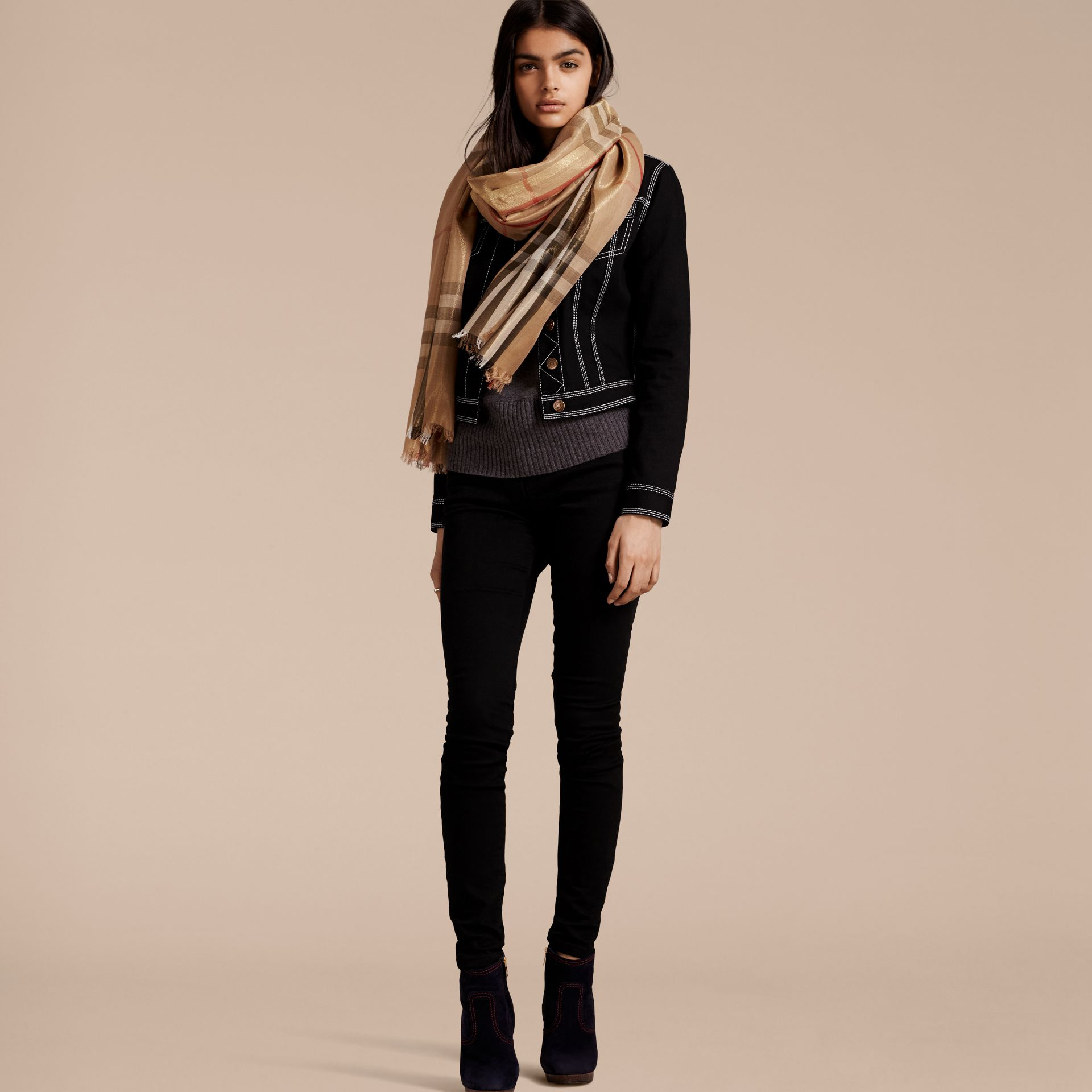 Metallic Check Silk and Wool Scarf in Camel/gold - gallery image 2