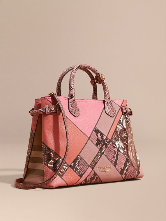 The Medium Banner in Patchwork Leather and Python in Dusty Pink