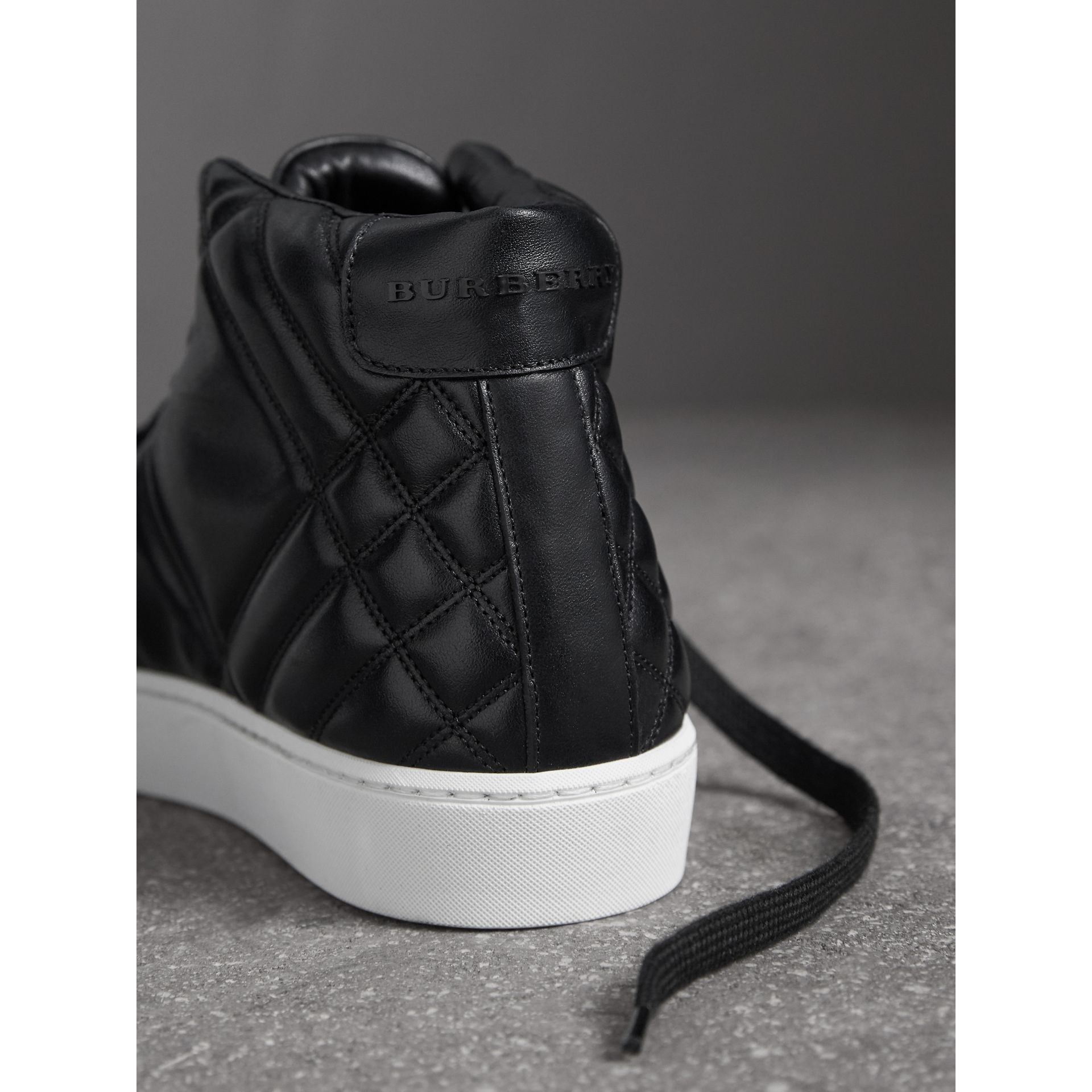 Check-quilted Leather High-top Trainers in Black - Women | Burberry Singapore - gallery image 2