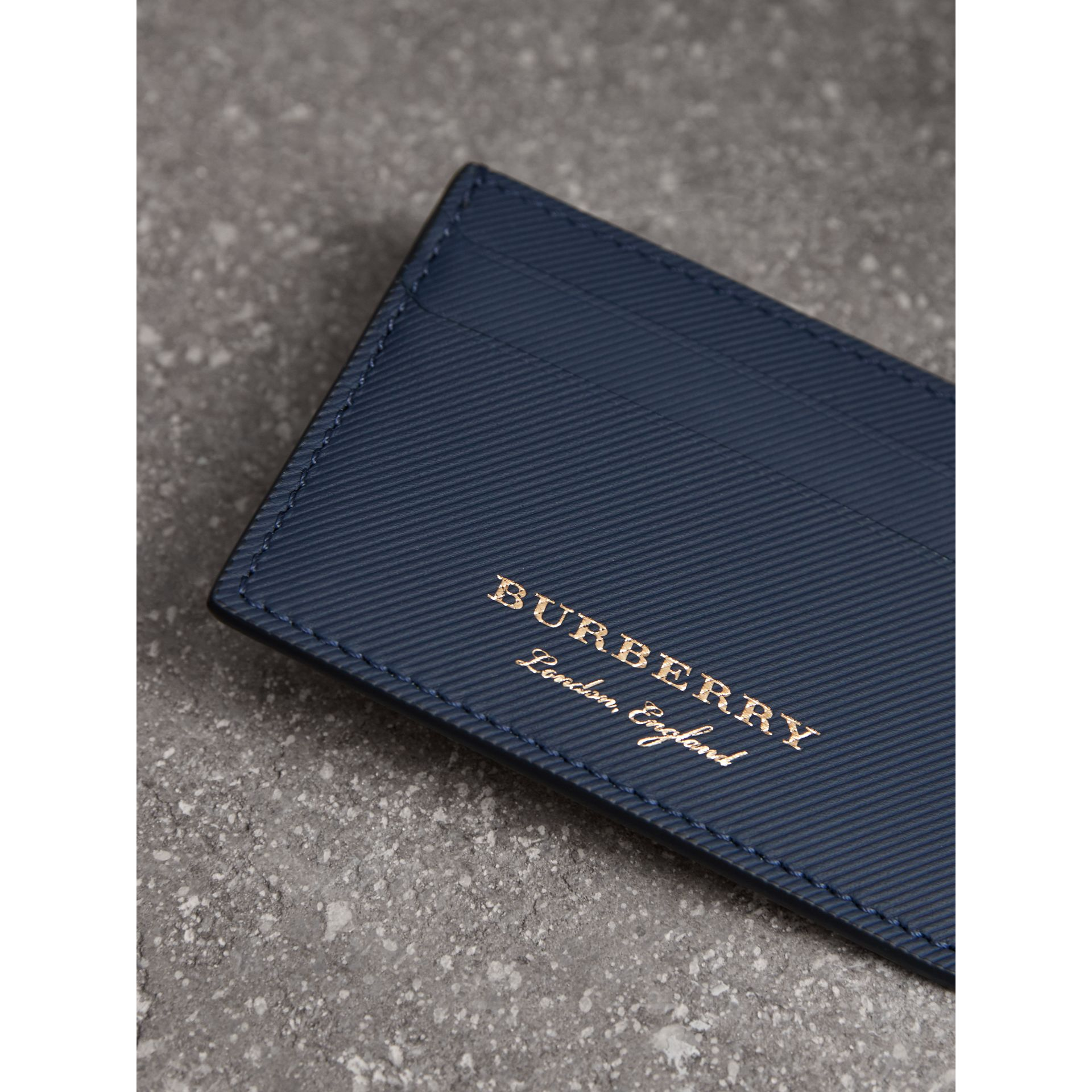 Trench Leather Card Case in Ink Blue | Burberry - gallery image 1