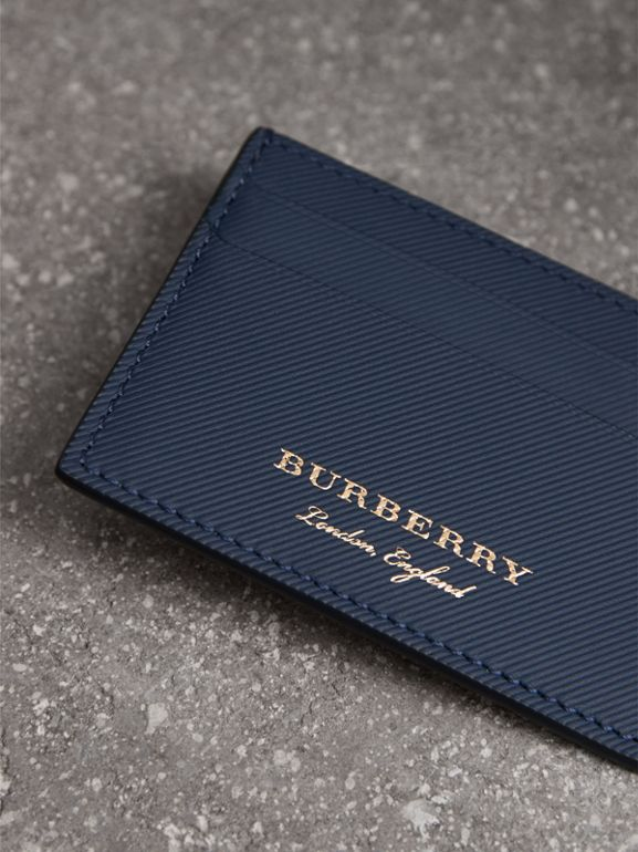 Trench Leather Card Case in Ink Blue | Burberry - cell image 1