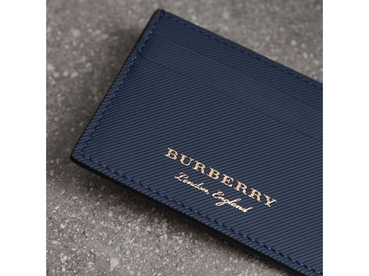Trench Leather Card Case in Ink Blue - Men | Burberry United Kingdom - cell image 1