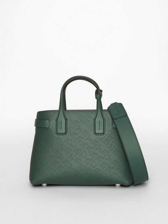 The Small Banner in Perforated Logo Leather in Vintage Green