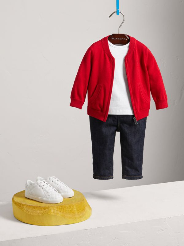 Check Detail Cotton Cardigan in Military Red - Boy | Burberry United States - cell image 2