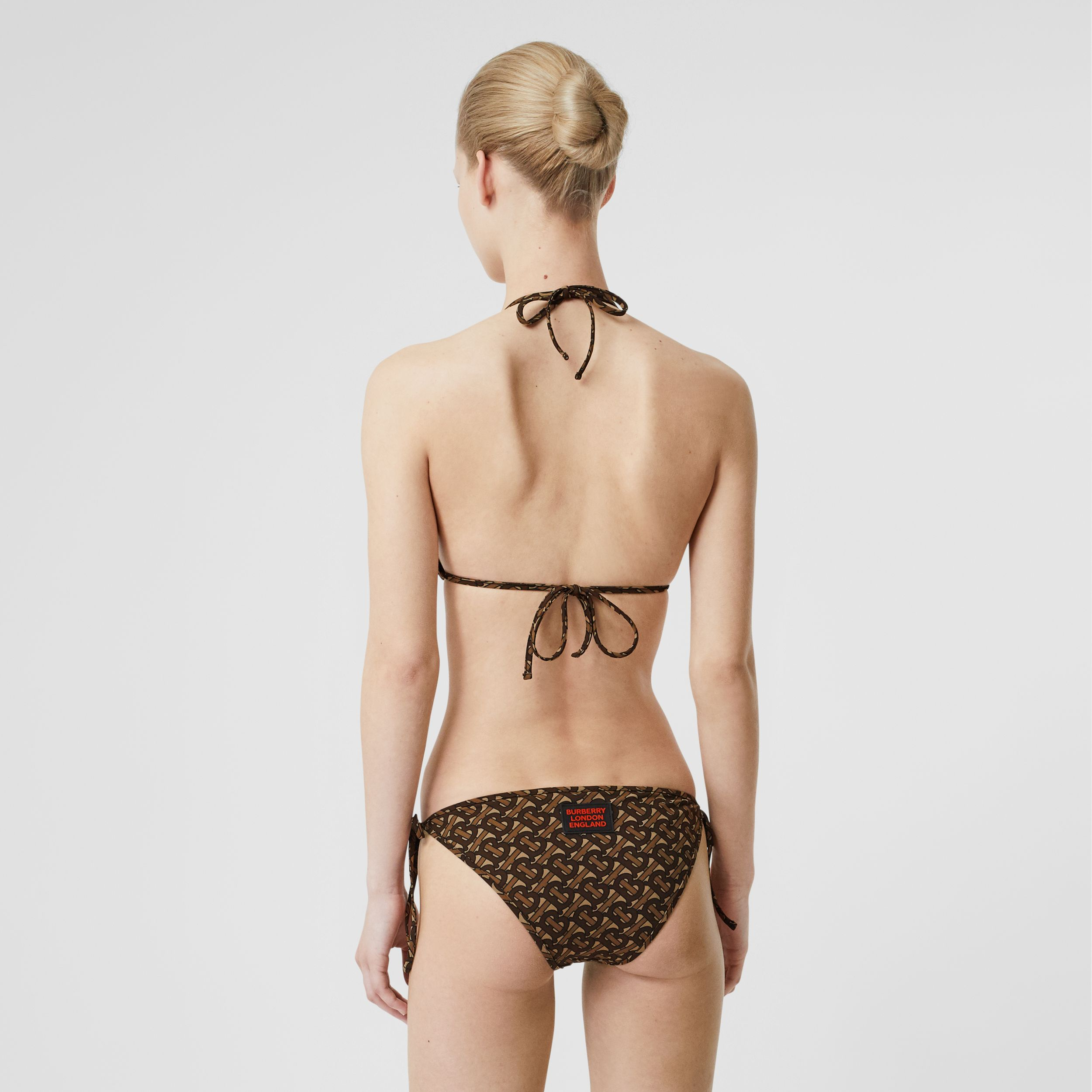 Monogram Print Triangle Bikini in Brown - Women | Burberry United Kingdom - 2