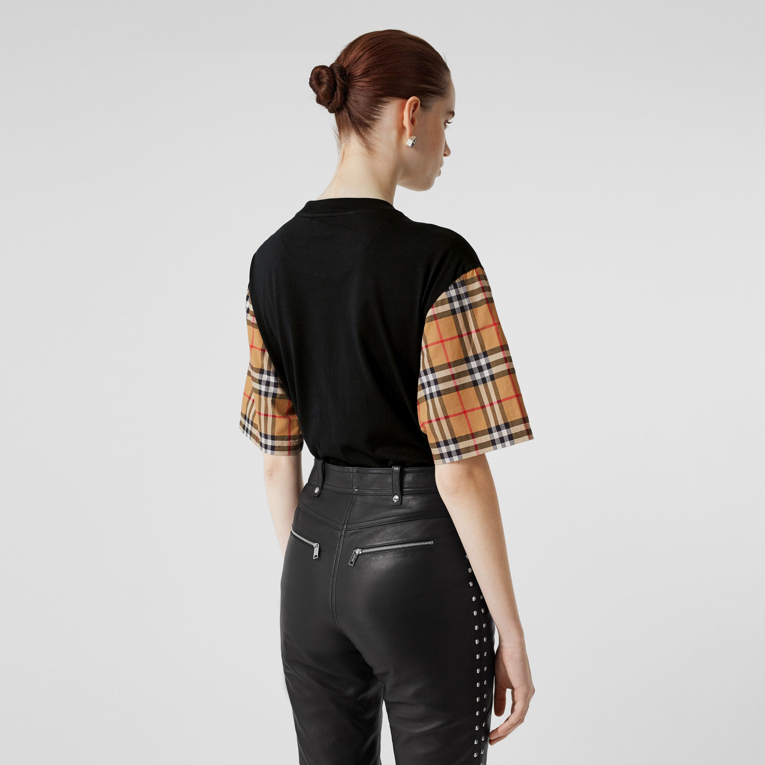 Vintage Check Detail Cotton T-shirt in Black - Women | Burberry - 3