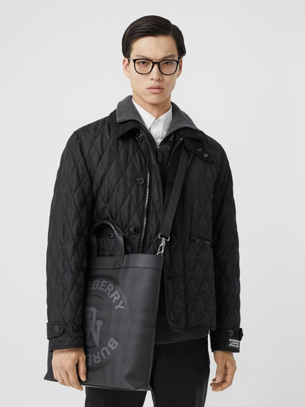 Logo Graphic London Check Tote in Dark Charcoal - Men | Burberry - cell image 3