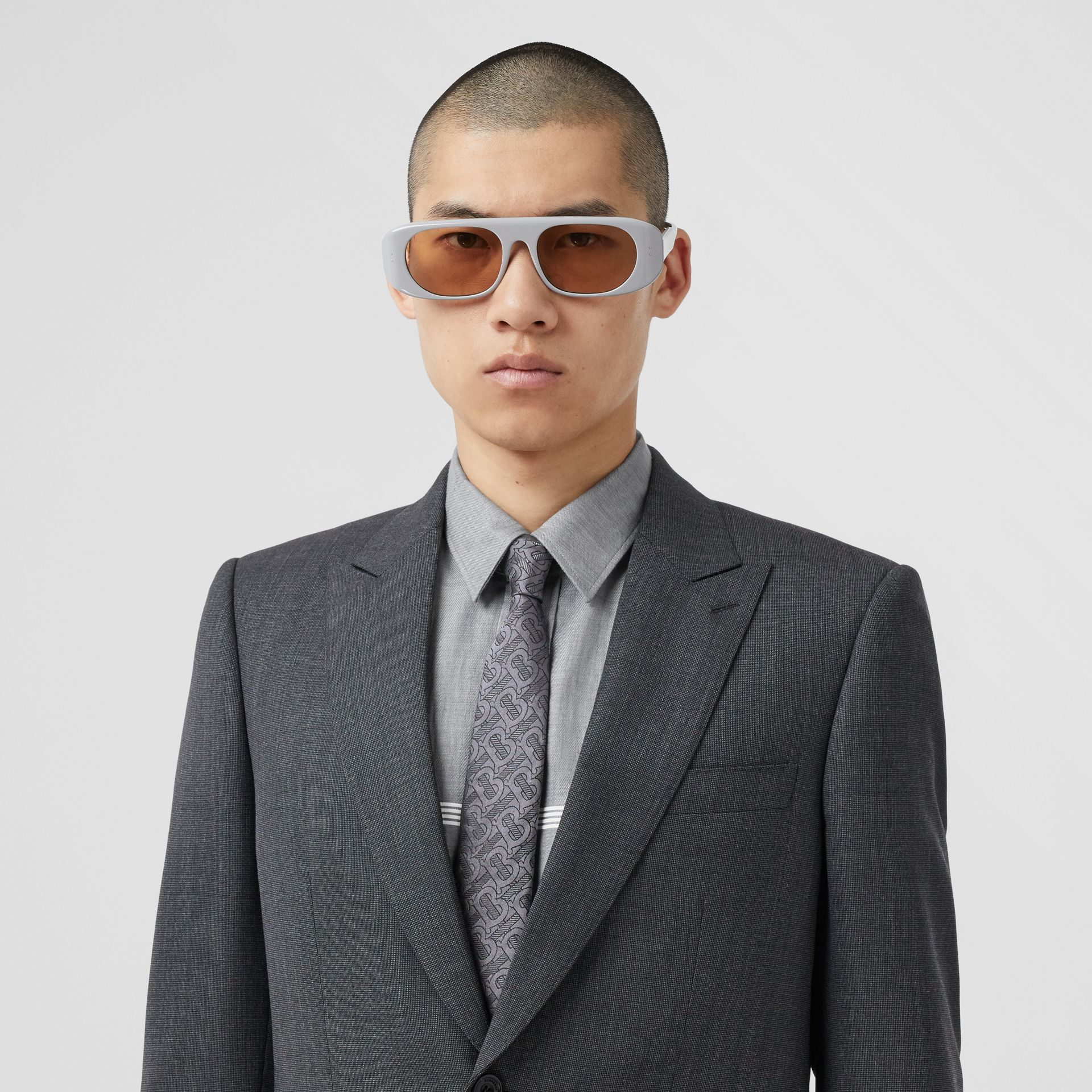 Classic Cut Monogram Silk Blend Jacquard Tie in Charcoal - Men | Burberry Hong Kong S.A.R - gallery image 2