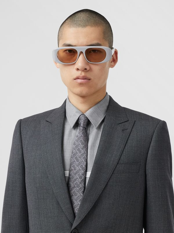 Classic Cut Monogram Silk Blend Jacquard Tie in Charcoal - Men | Burberry Hong Kong S.A.R - cell image 2