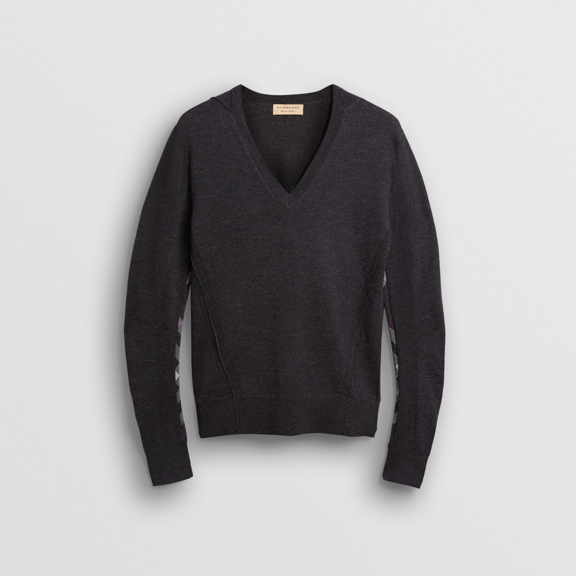 Check Detail Merino Wool V-neck Sweater in Charcoal - Men | Burberry - gallery image 3