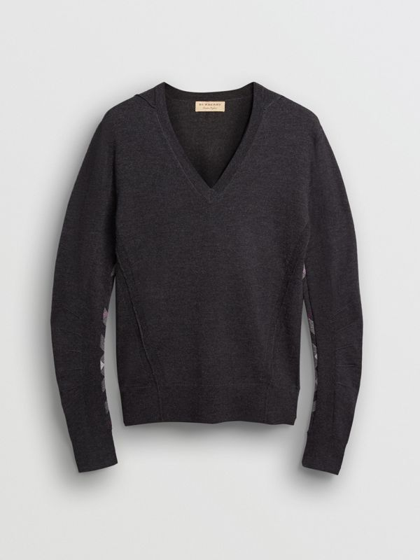Check Detail Merino Wool V-neck Sweater in Charcoal - Men | Burberry - cell image 3