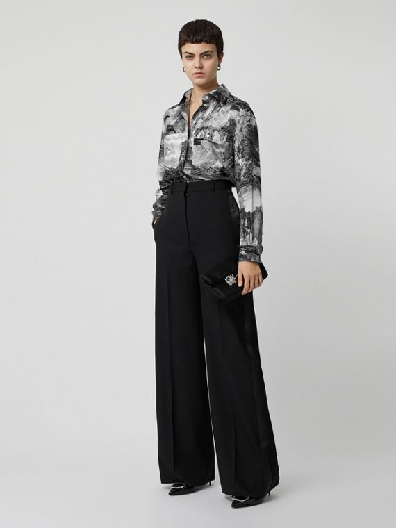 Dreamscape Print Silk Longline Shirt in Black
