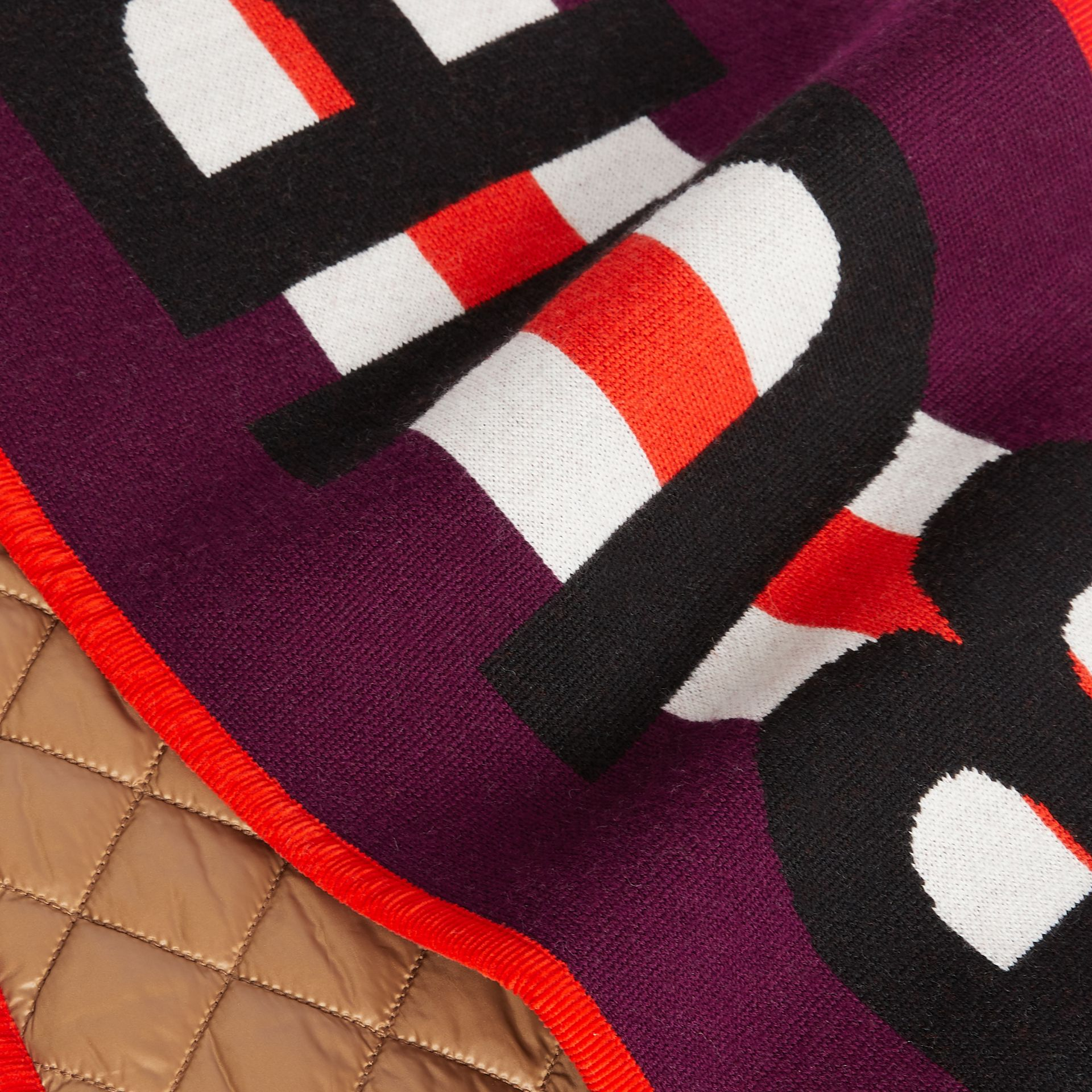 Logo Merino Wool Jacquard Scarf in Burgundy - Children | Burberry - gallery image 1