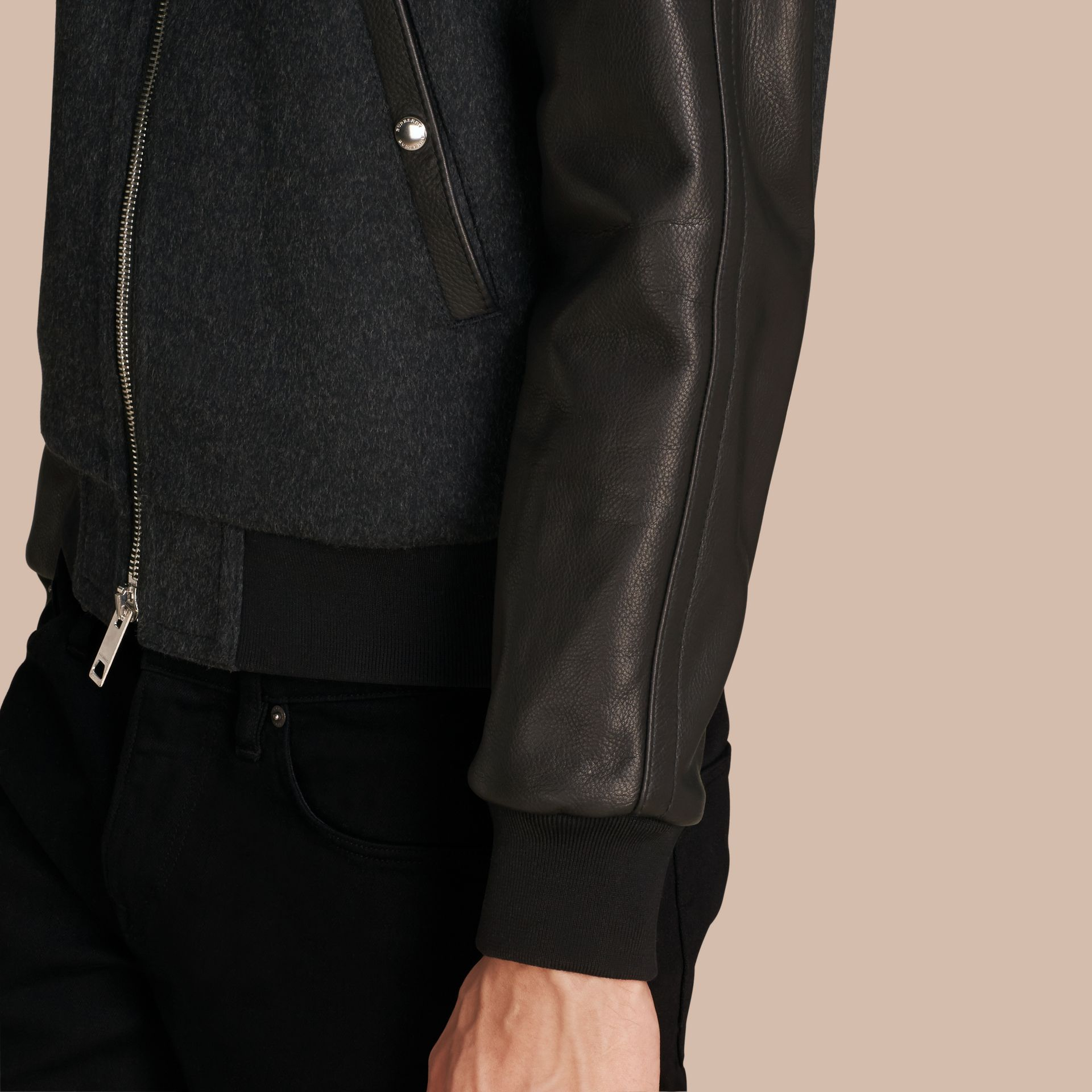Dark grey melange Wool Cashmere Bomber Jacket with Leather Sleeves - gallery image 6