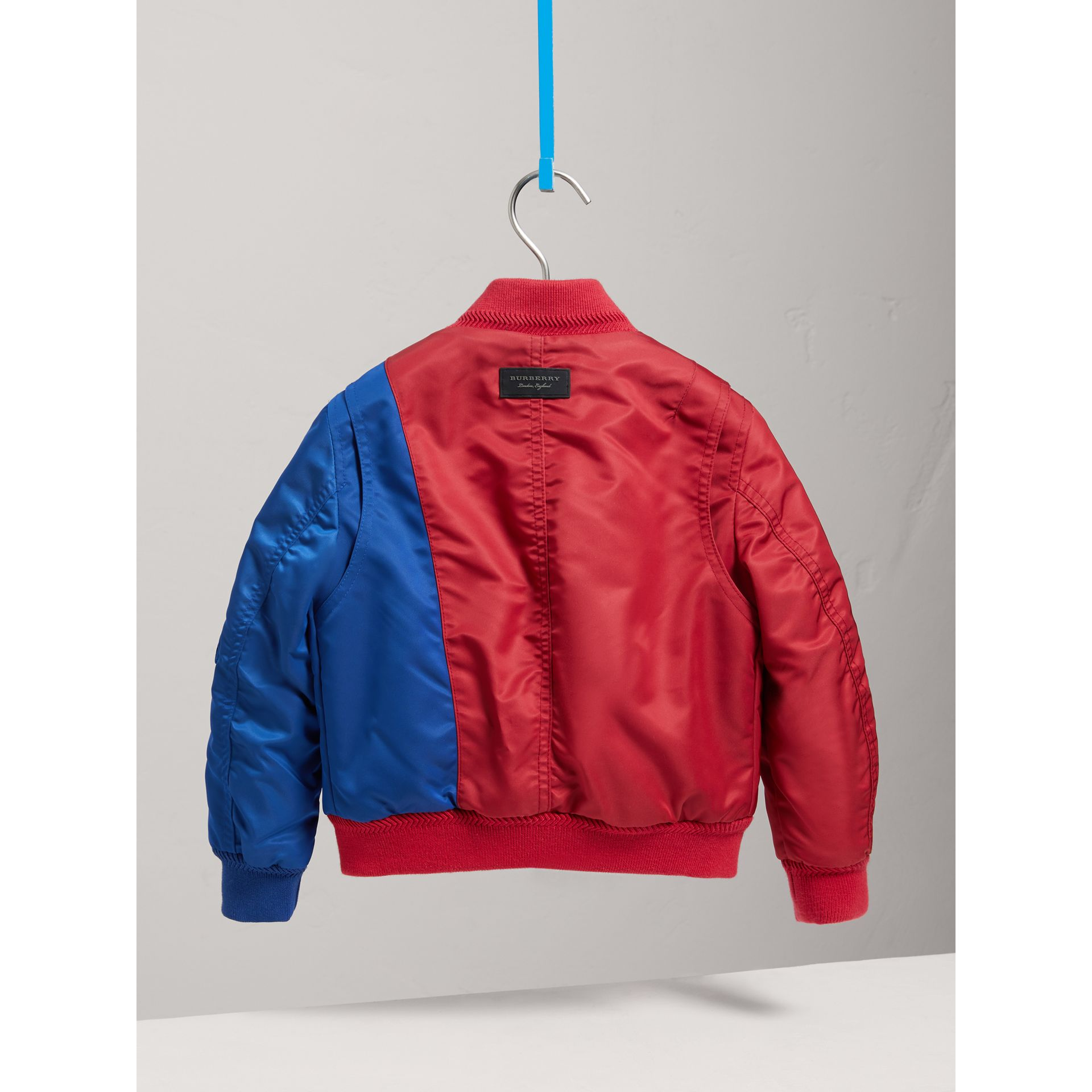 Colour Block Lightweight Bomber Jacket in Coral Red - Boy | Burberry - gallery image 3