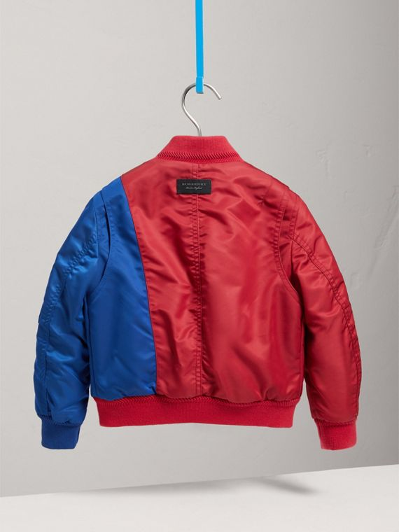 Colour Block Lightweight Bomber Jacket in Coral Red - Boy | Burberry United Kingdom - cell image 3