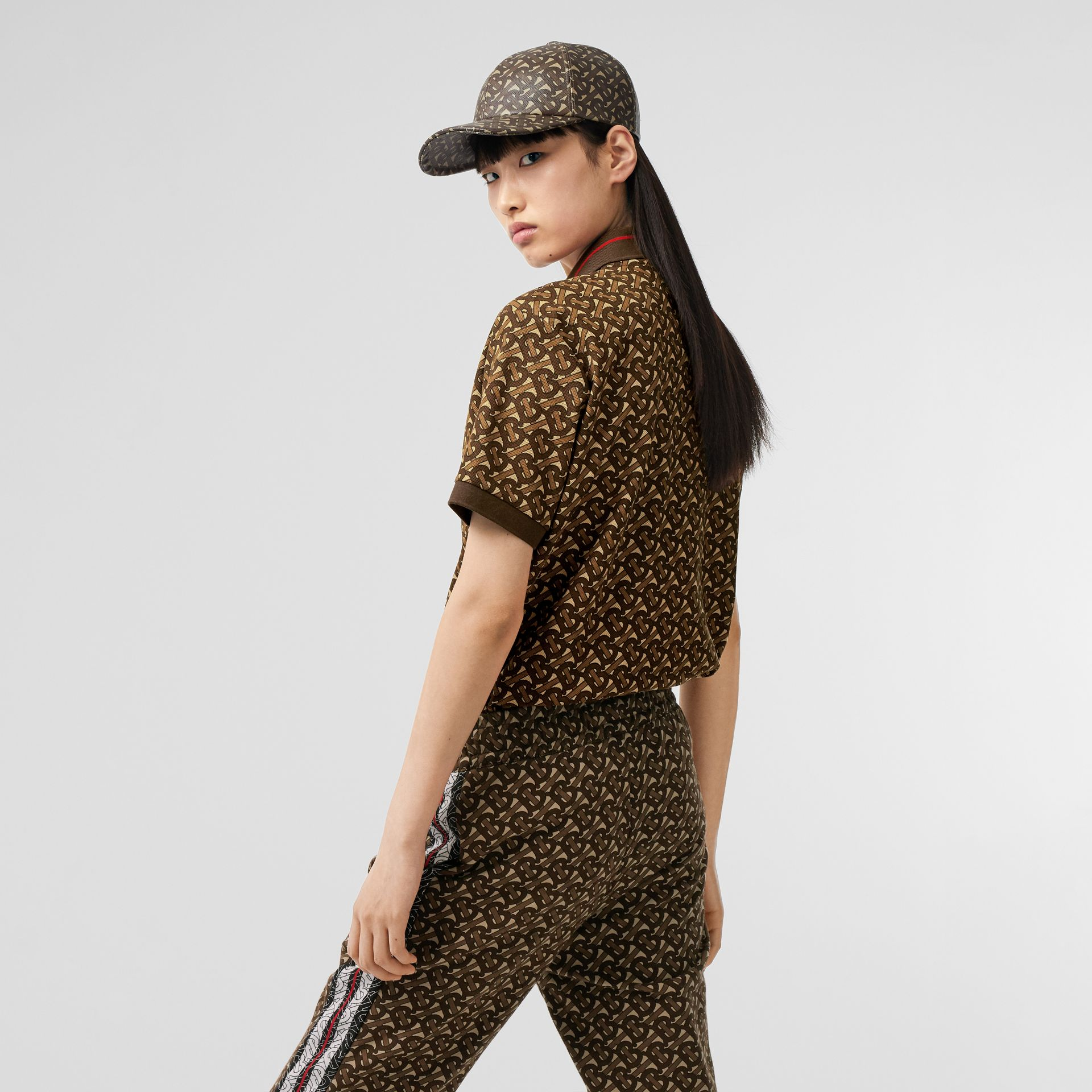 Monogram Stripe Print Cotton Oversized Polo Shirt in Bridle Brown - Women | Burberry Australia - gallery image 1