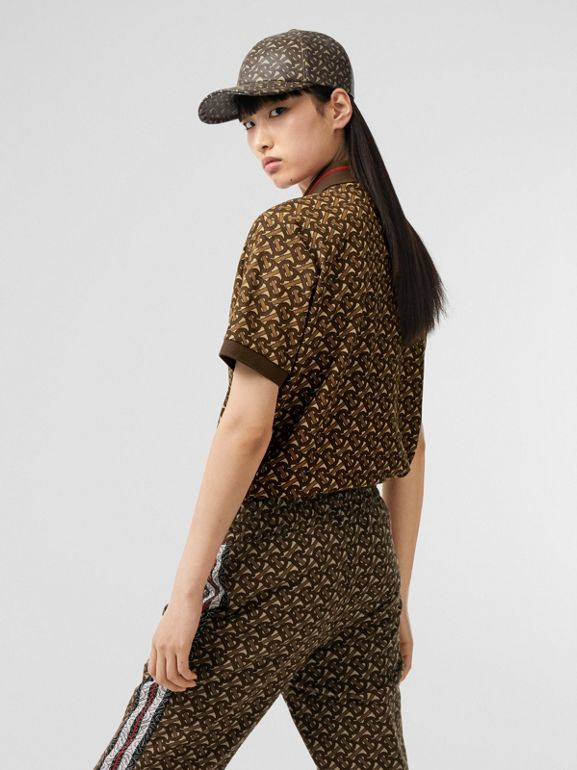 Monogram Stripe Print Cotton Oversized Polo Shirt in Bridle Brown - Women | Burberry Australia - cell image 1