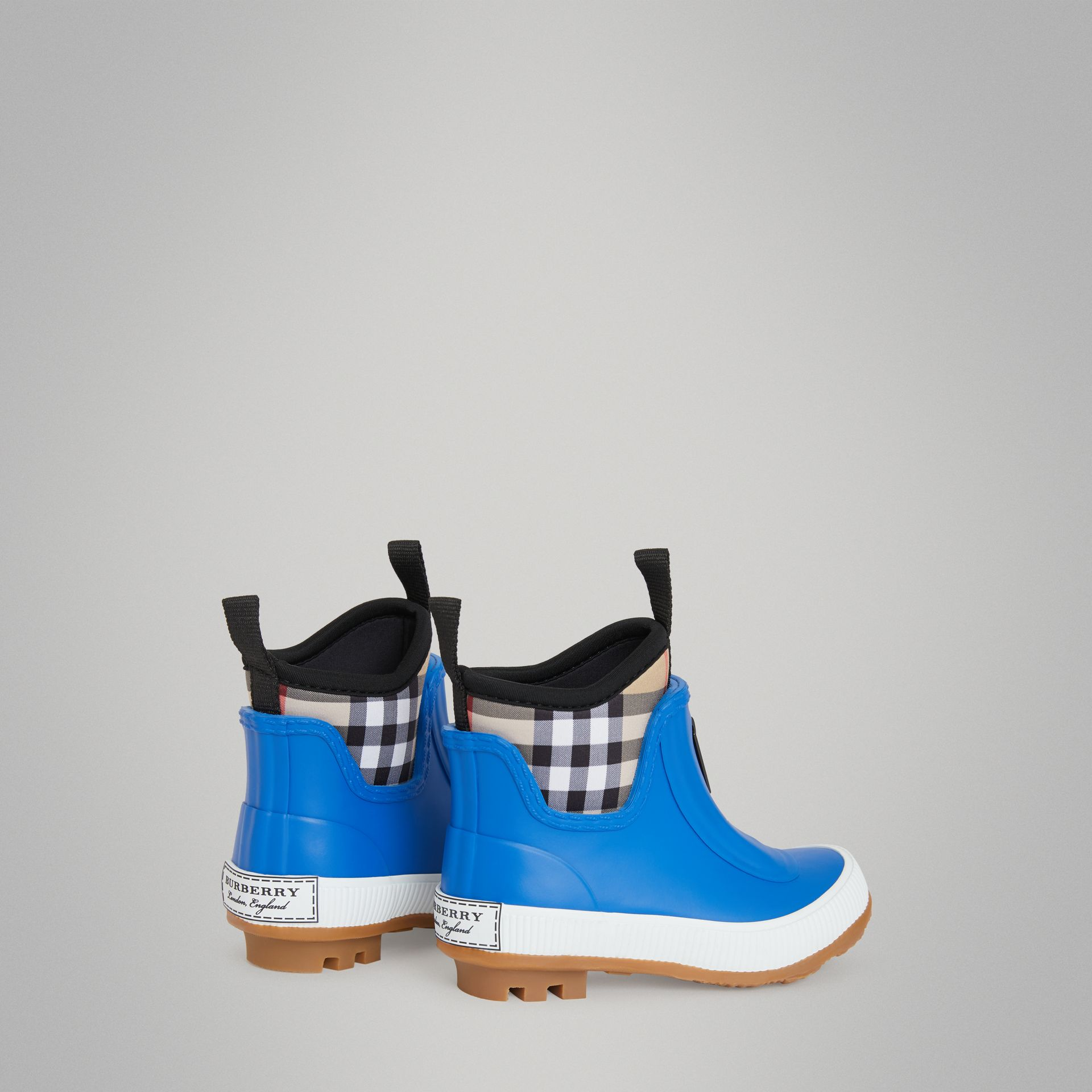 Vintage Check Neoprene and Rubber Rain Boots in Bright Canvas Blue - Children | Burberry Singapore - gallery image 2