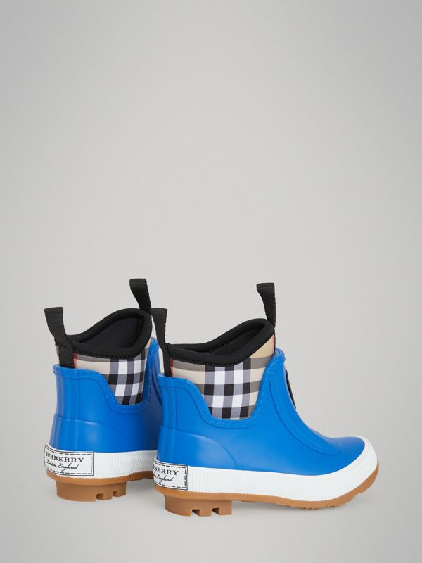 Vintage Check Neoprene and Rubber Rain Boots in Bright Canvas Blue - Children | Burberry - cell image 2