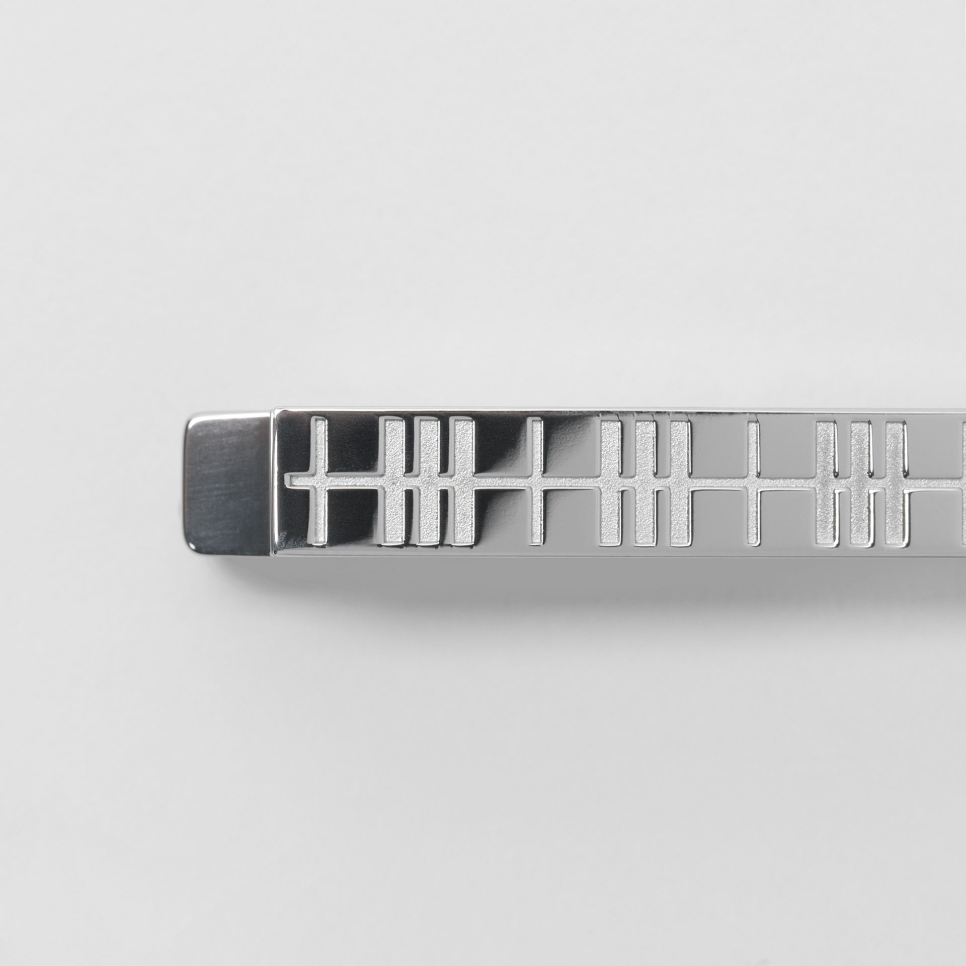 Check-engraved Tie Bar in Silver - Men | Burberry United Kingdom - gallery image 1