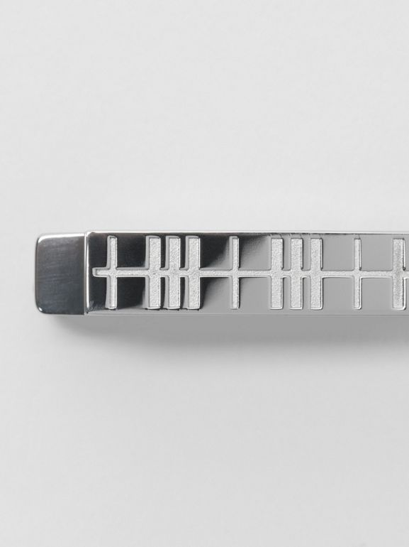 Check-engraved Tie Bar in Silver - Men | Burberry United Kingdom - cell image 1