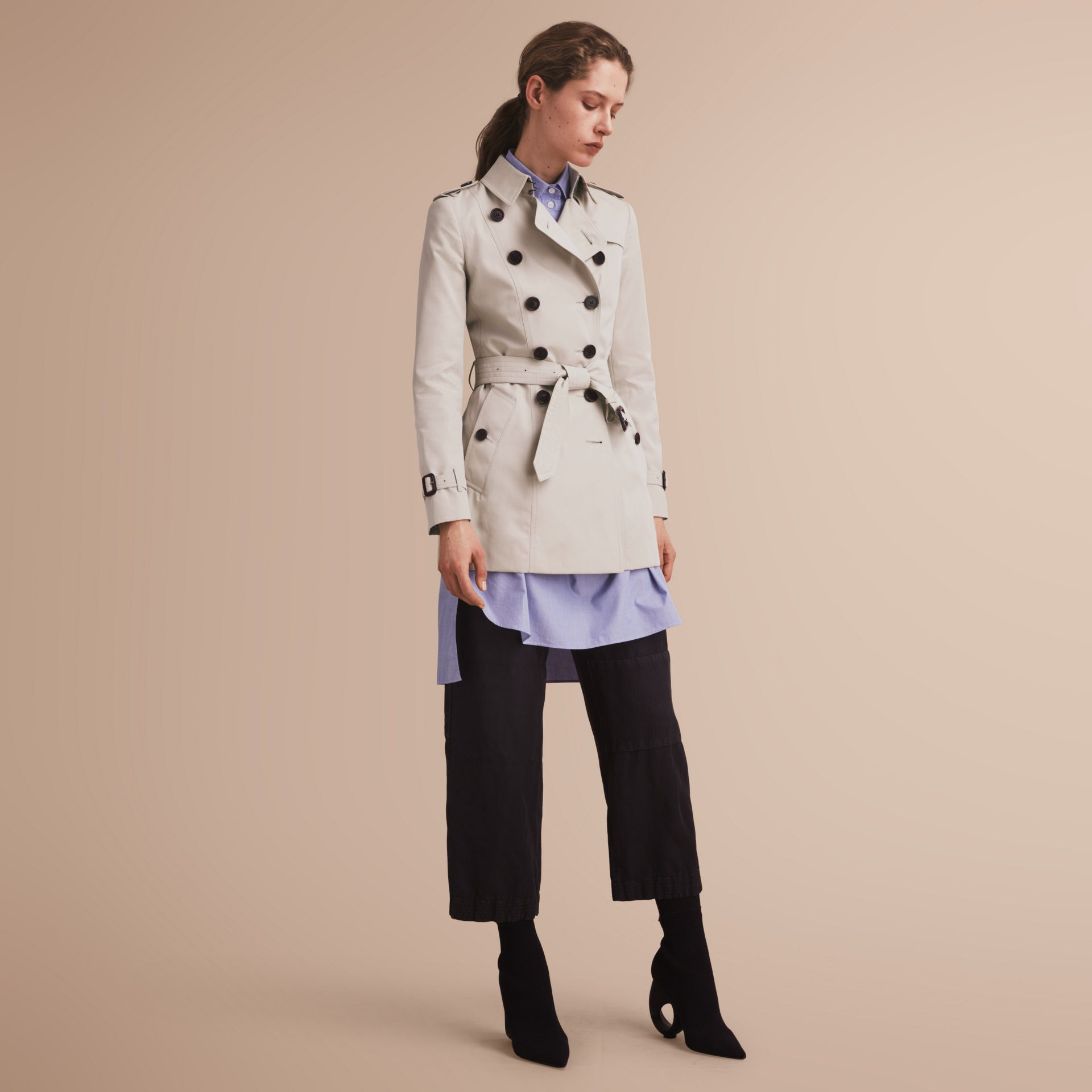 The Chelsea – Short Heritage Trench Coat in Stone - gallery image 1
