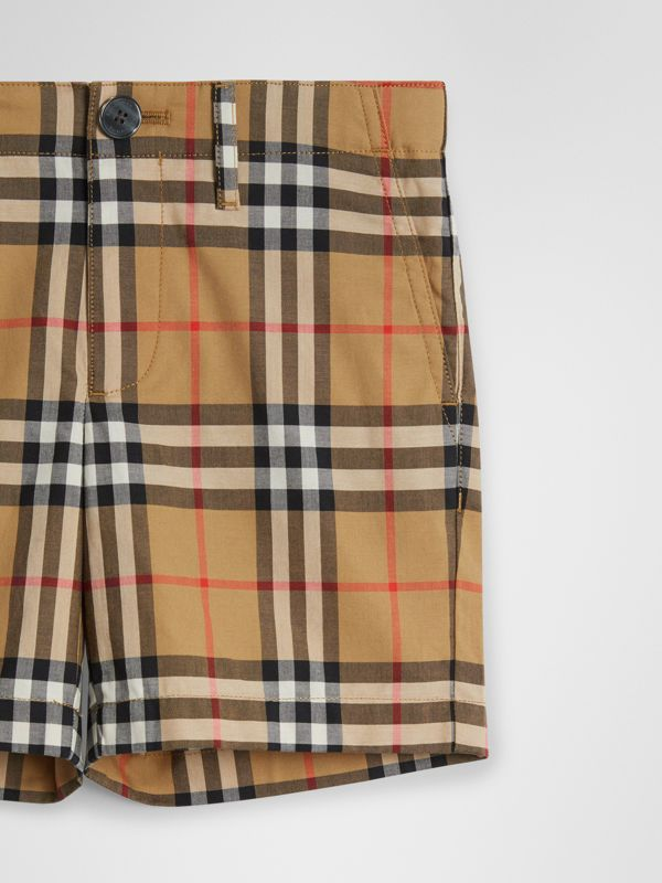 Vintage Check Cotton Tailored Shorts in Antique Yellow | Burberry United Kingdom - cell image 3