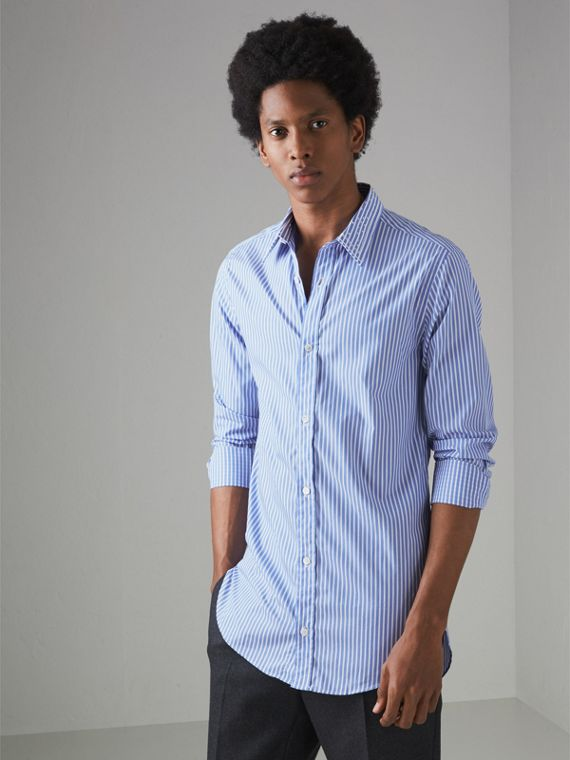 Embroidered Collar Striped Cotton Shirt in Mid Blue
