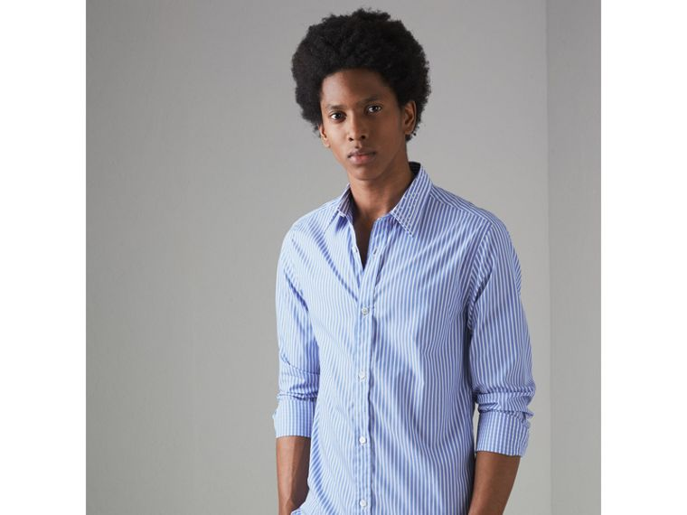 Embroidered Collar Striped Cotton Shirt in Mid Blue - Men | Burberry - cell image 4