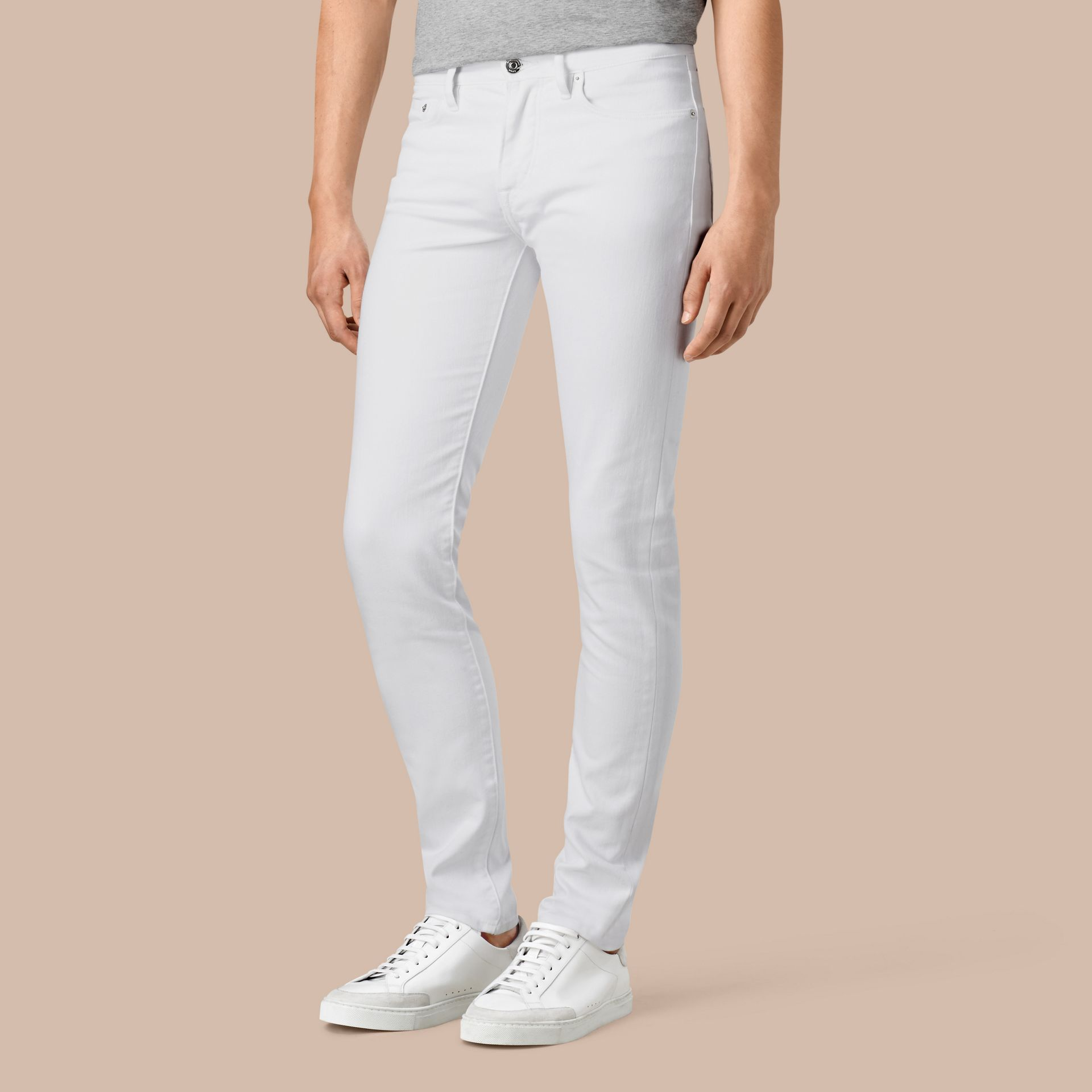 White Slim Fit Stretch Japanese Denim Jeans - gallery image 1