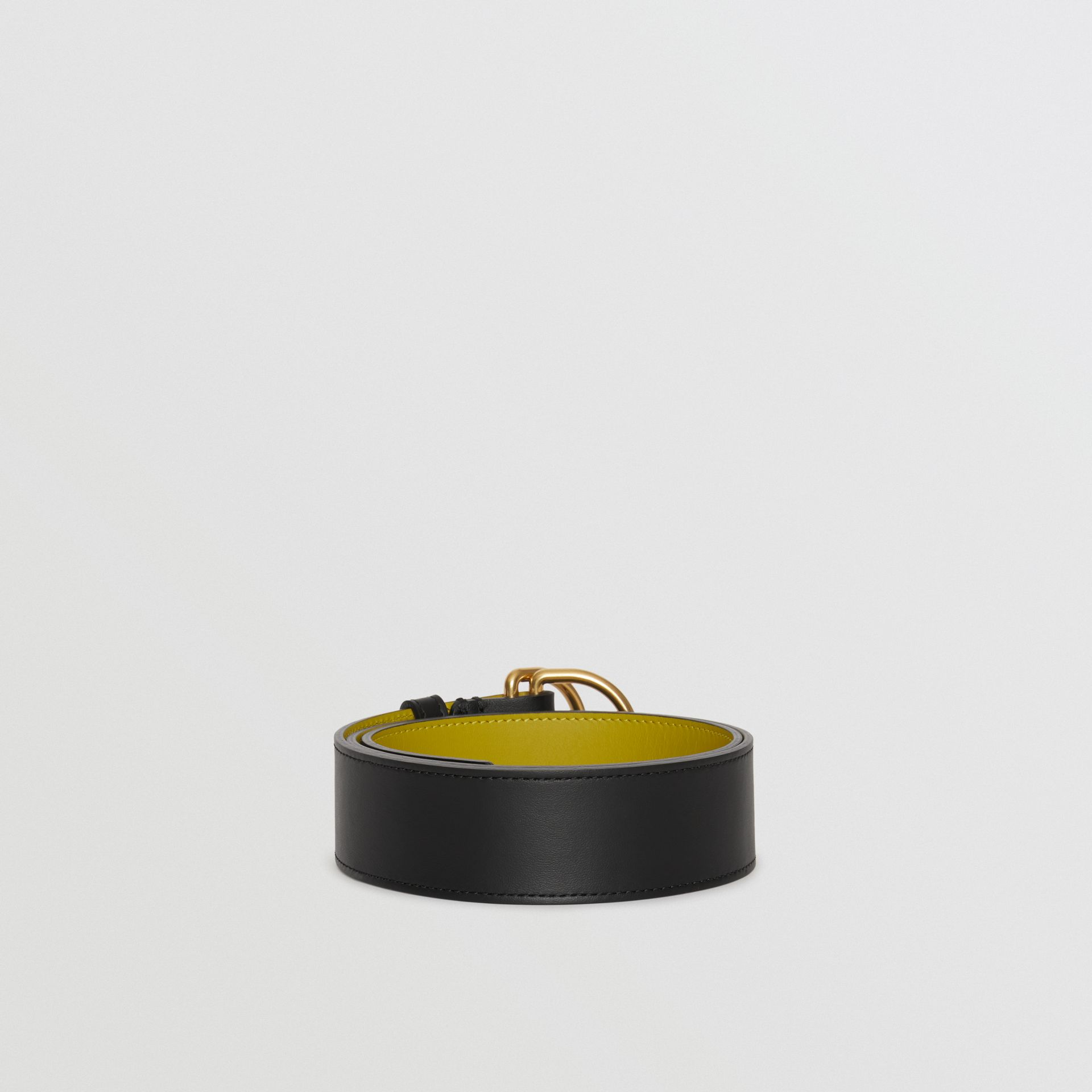 Leather Double D-ring Belt in Black/lemon Quartz - Women | Burberry Canada - gallery image 3