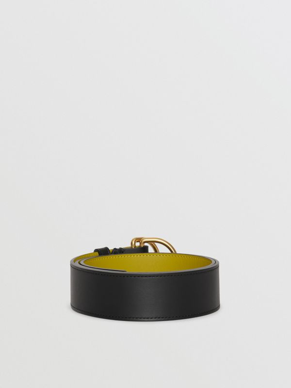 Leather Double D-ring Belt in Black/lemon Quartz - Women | Burberry - cell image 3