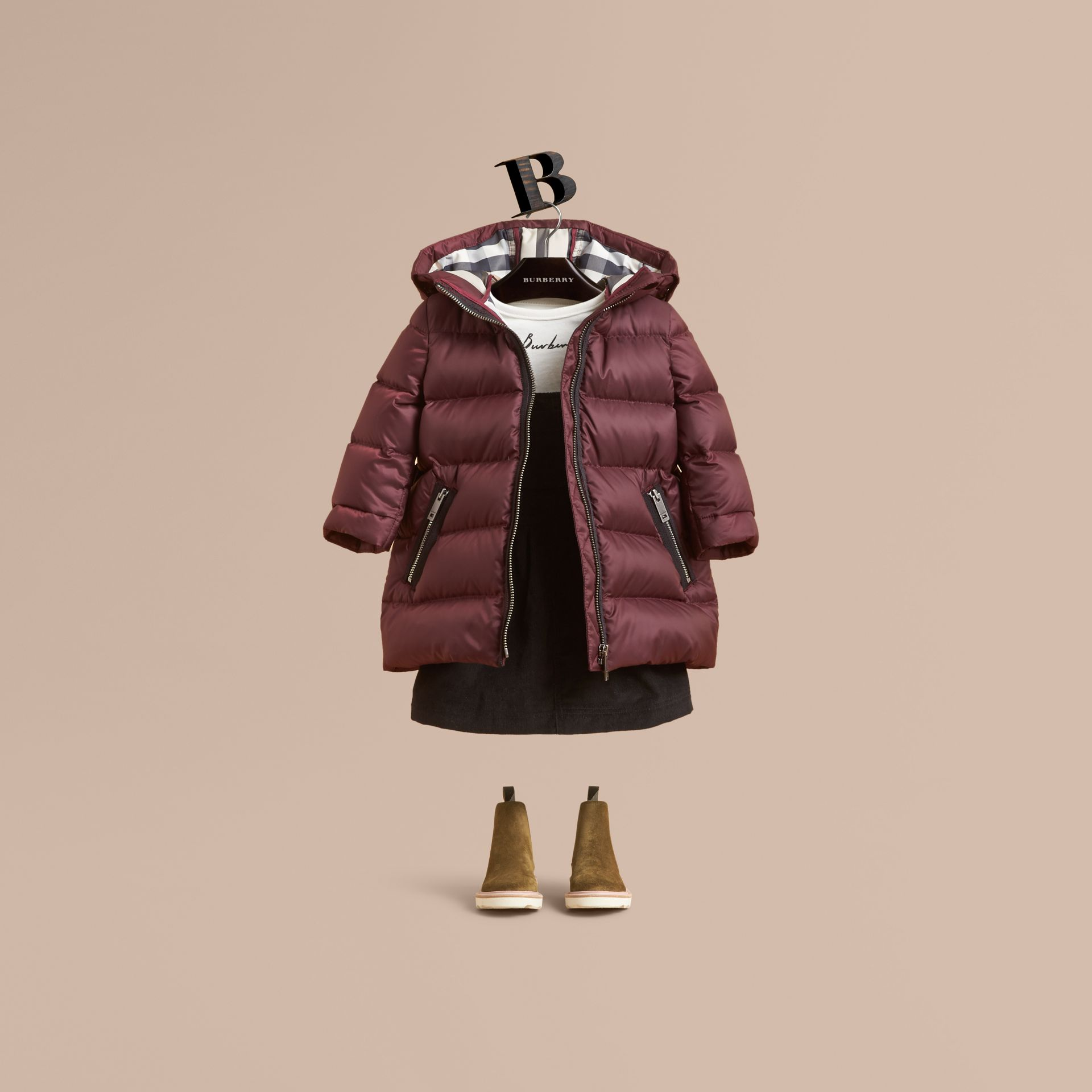 Bow Detail Down-filled Coat in Dark Plum | Burberry - gallery image 0