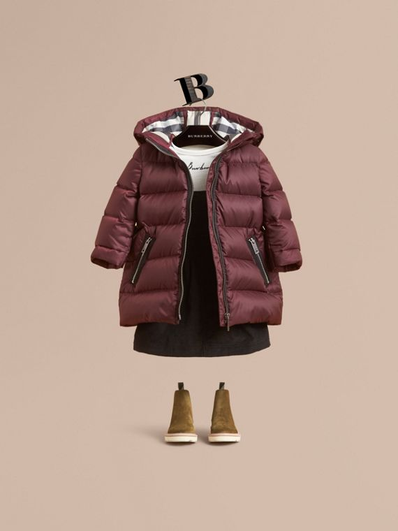 Bow Detail Down-filled Coat in Dark Plum