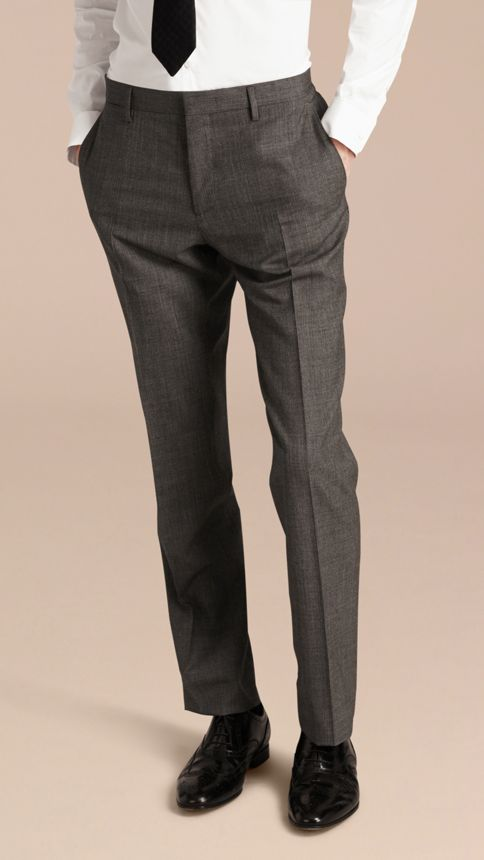 Mid grey melange Modern Fit Wool Cashmere Microcheck Part-canvas Suit - Image 9