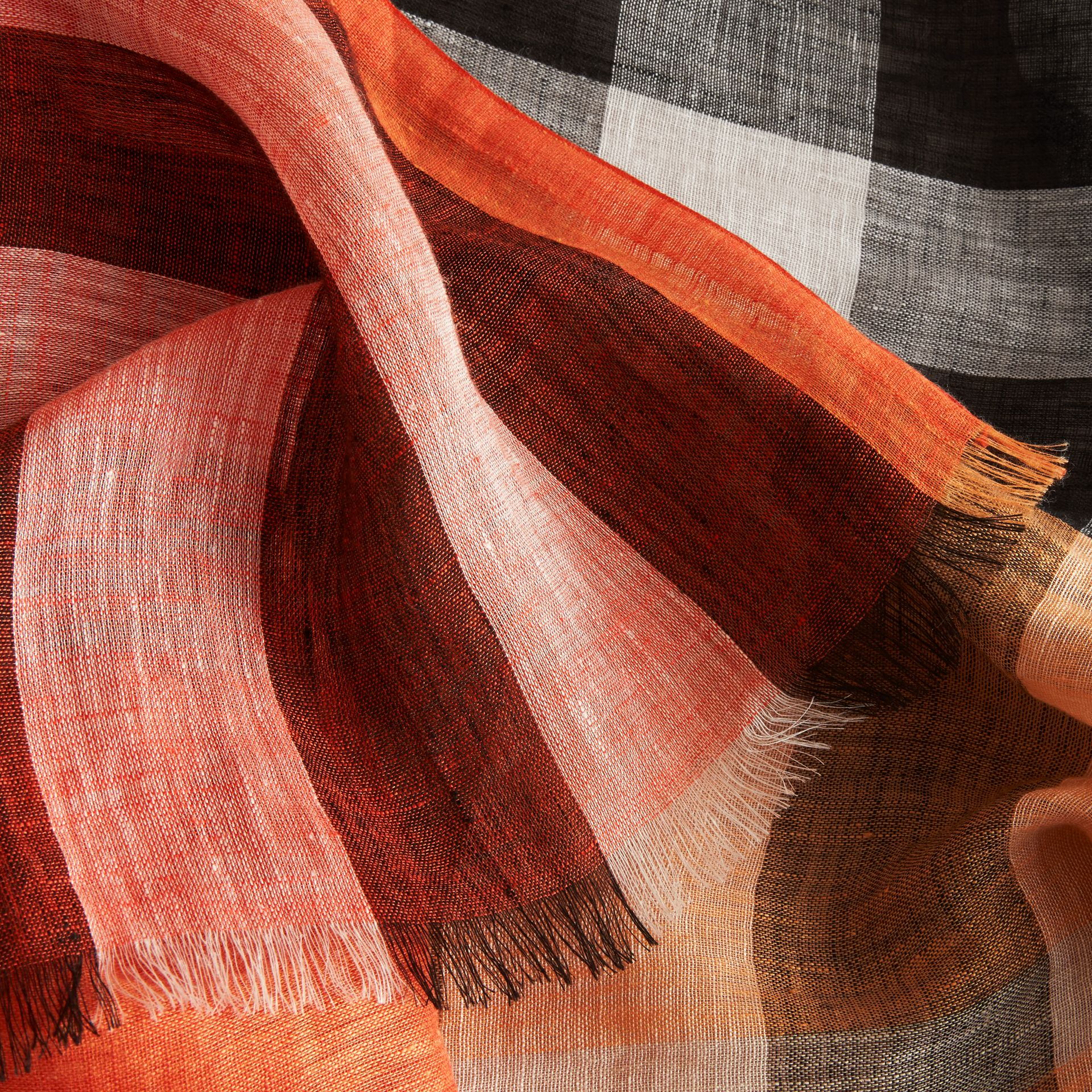 Lightweight Check Linen Scarf in Clementine | Burberry - gallery image 2